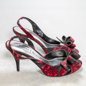 White House   Black Market 7M red rose sling backs